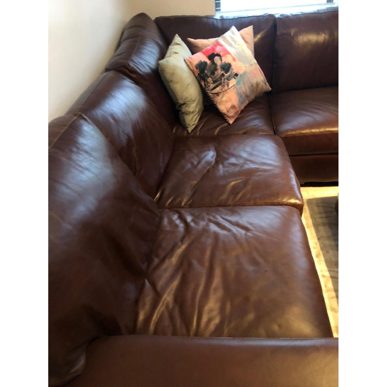 ABC Home Brown Leather Sectional Sofa & Ottoman - image-2