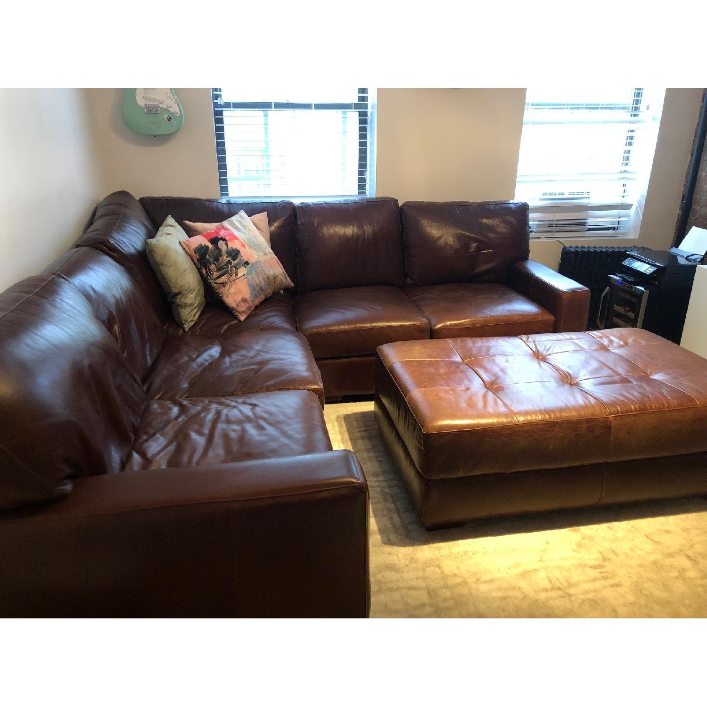 ABC Home Brown Leather Sectional Sofa & Ottoman - image-3