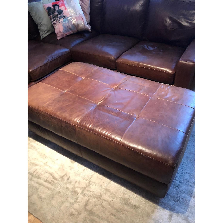 ABC Home Brown Leather Sectional Sofa & Ottoman - image-4