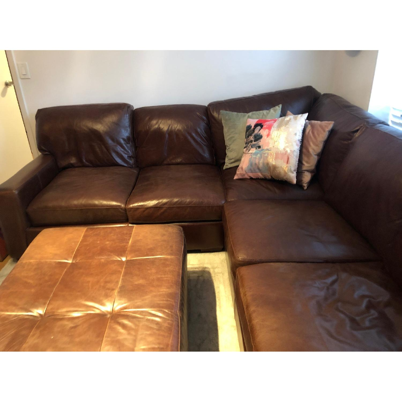 ABC Home Brown Leather Sectional Sofa & Ottoman - image-5