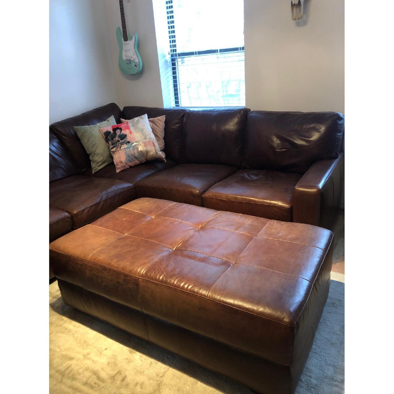 ABC Home Brown Leather Sectional Sofa & Ottoman - image-6