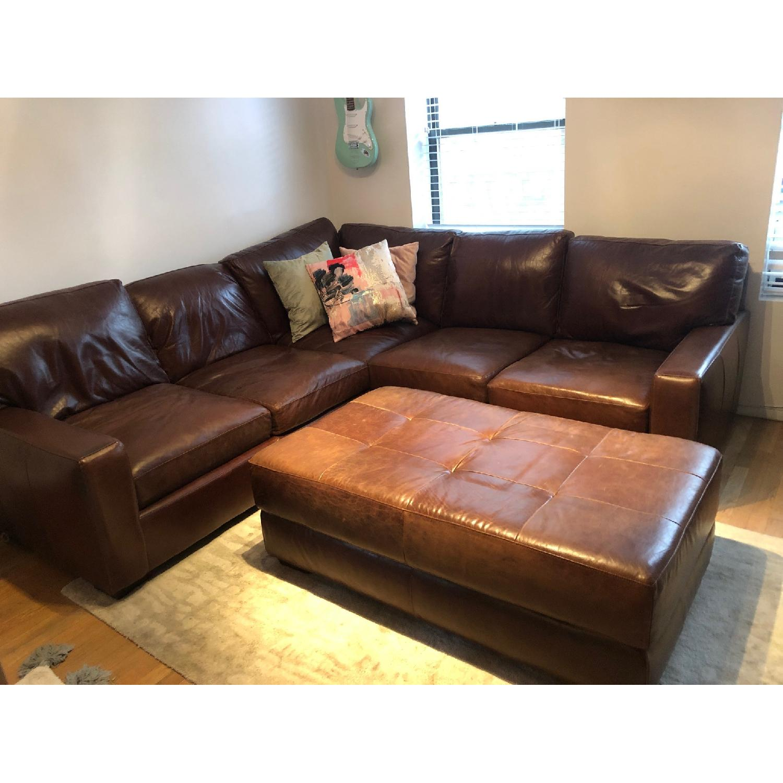 ABC Home Brown Leather Sectional Sofa & Ottoman - image-7