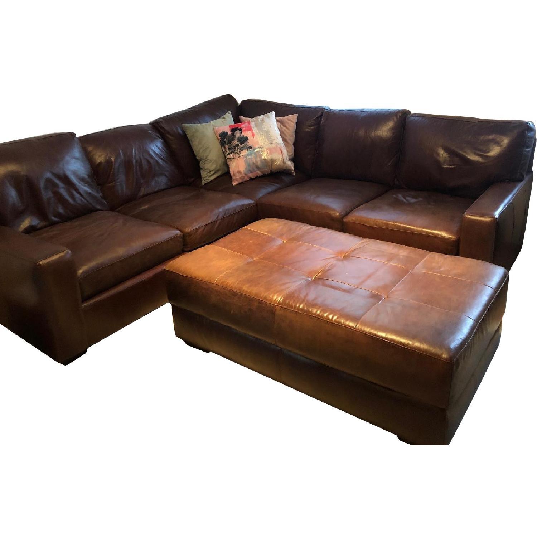 ABC Home Brown Leather Sectional Sofa & Ottoman - image-0
