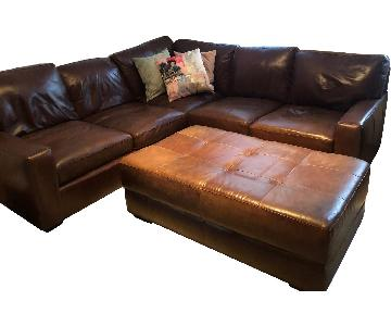 ABC Home Brown Leather Sectional Sofa & Ottoman