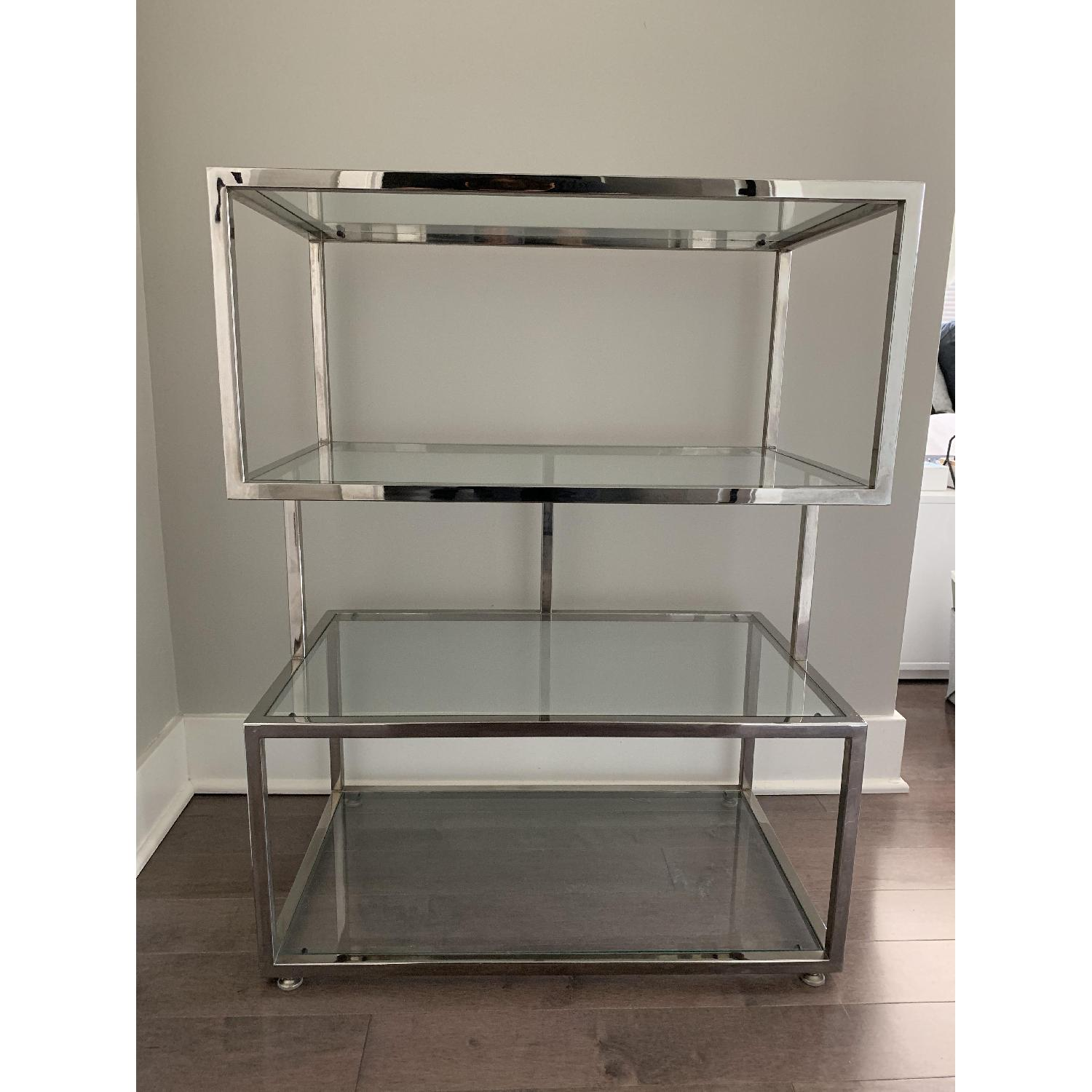 Industrial Metal Chrome Bookcase w/ Glass Shelves - image-1