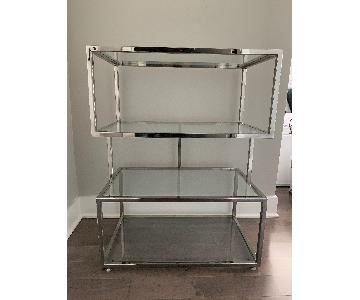 Industrial Metal Chrome Bookcase w/ Glass Shelves