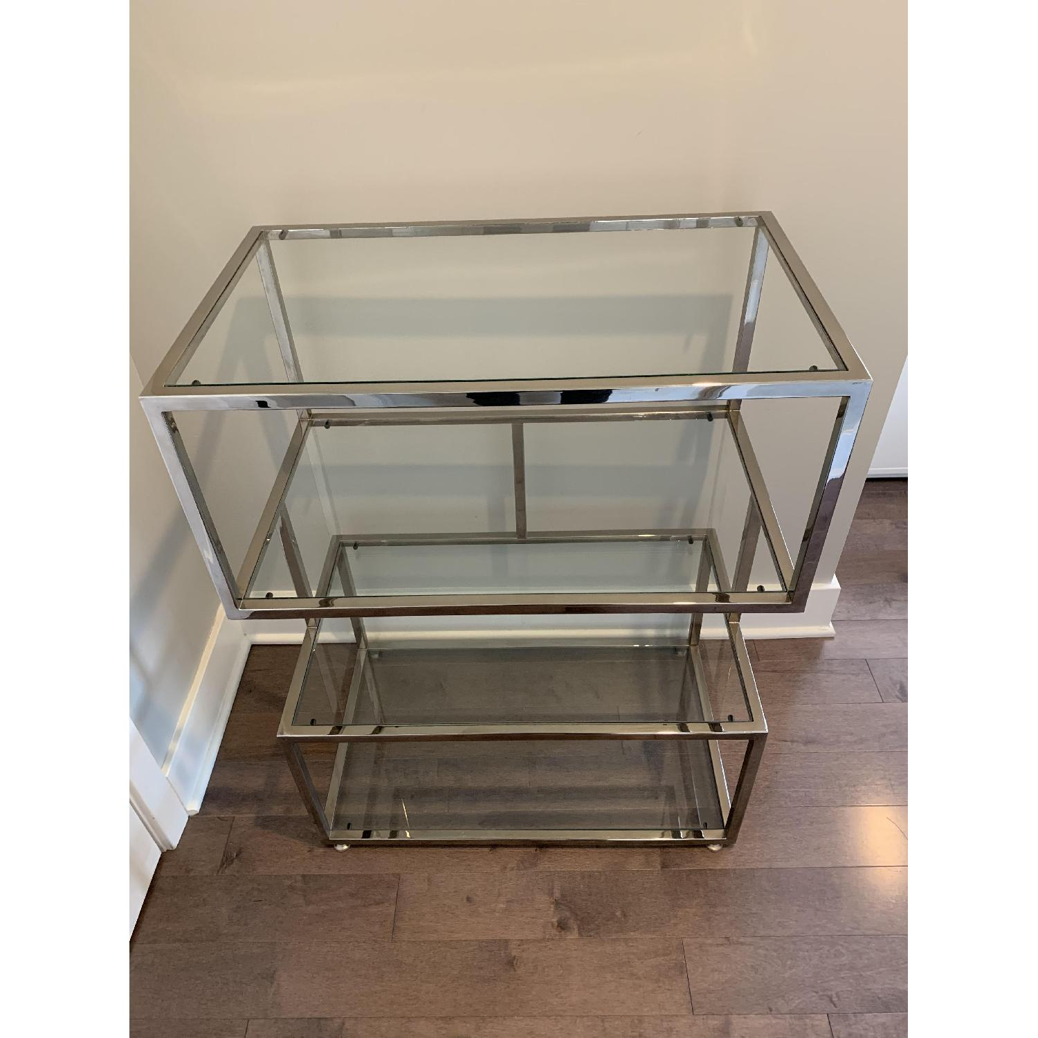 Industrial Metal Chrome Bookcase w/ Glass Shelves - image-2