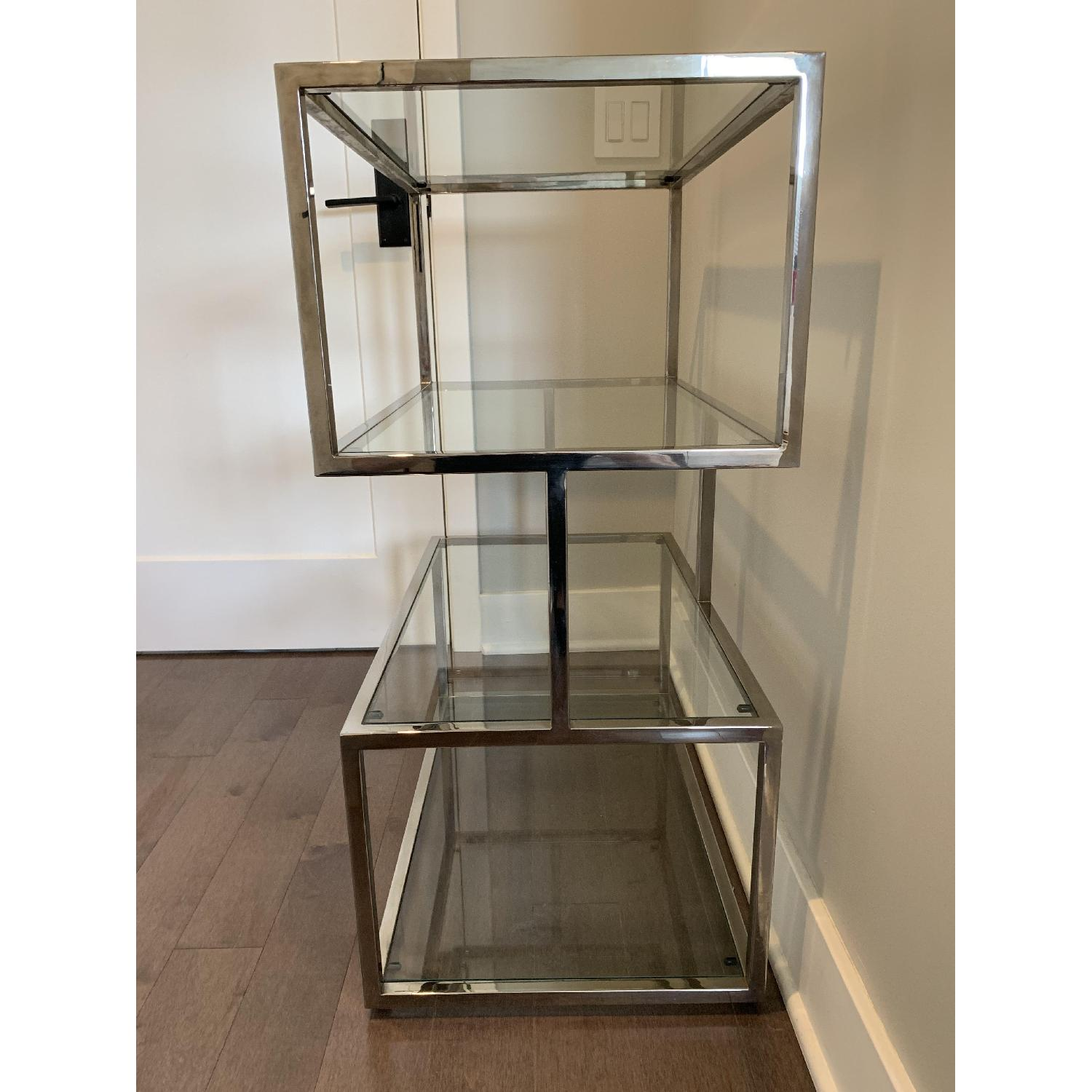 Industrial Metal Chrome Bookcase w/ Glass Shelves - image-3