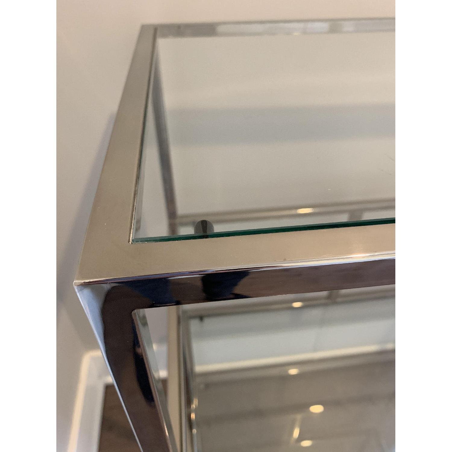 Industrial Metal Chrome Bookcase w/ Glass Shelves - image-4