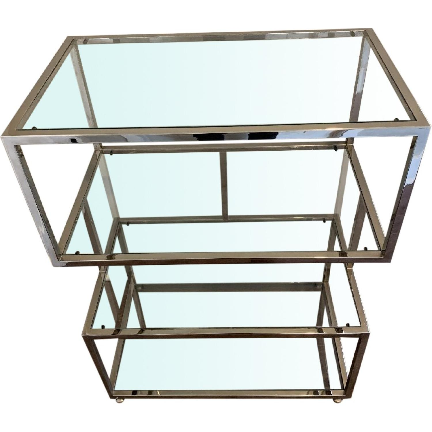 Industrial Metal Chrome Bookcase w/ Glass Shelves - image-0
