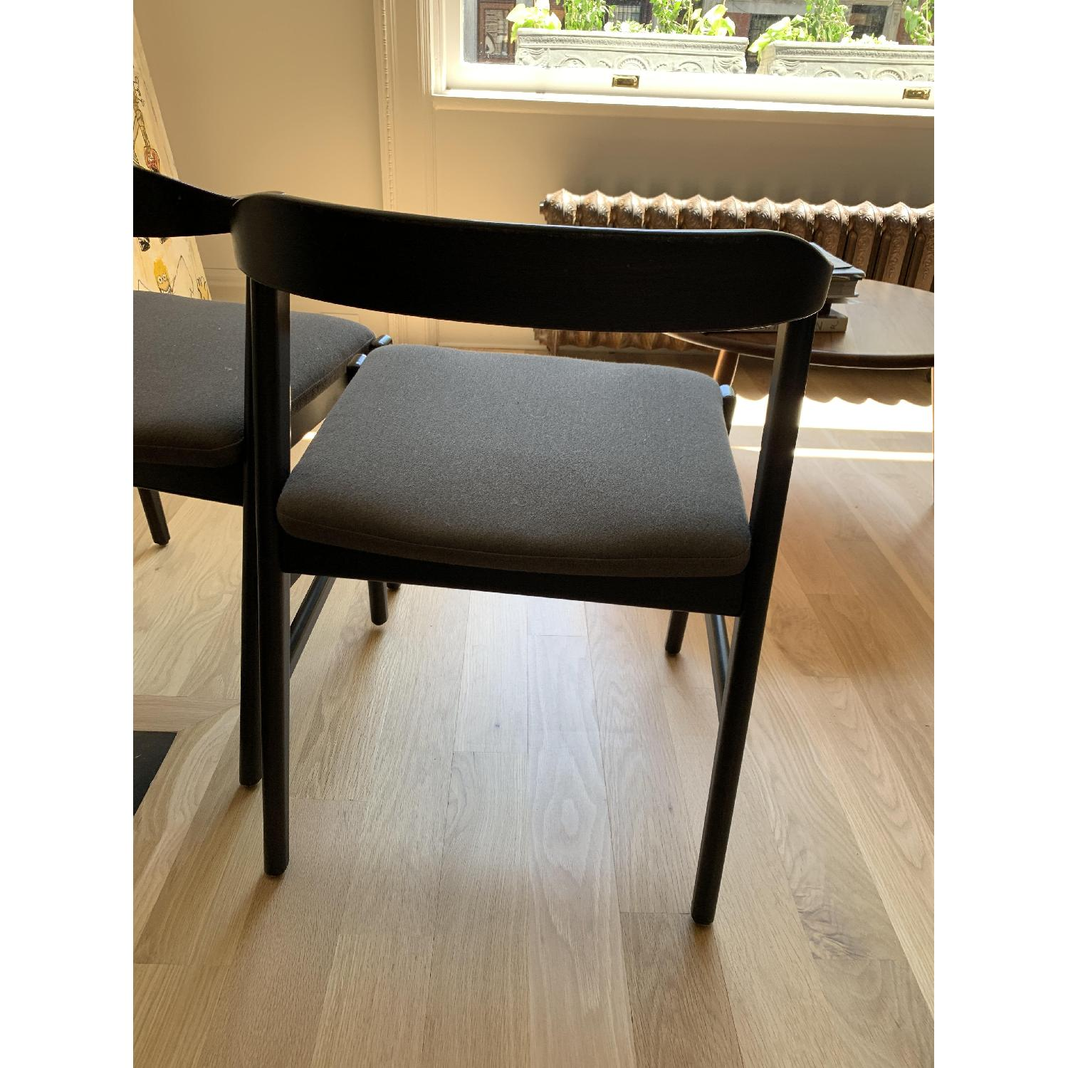 Room & Board Dark Wood & Grey Fabric Dining/Accent Chairs - image-2