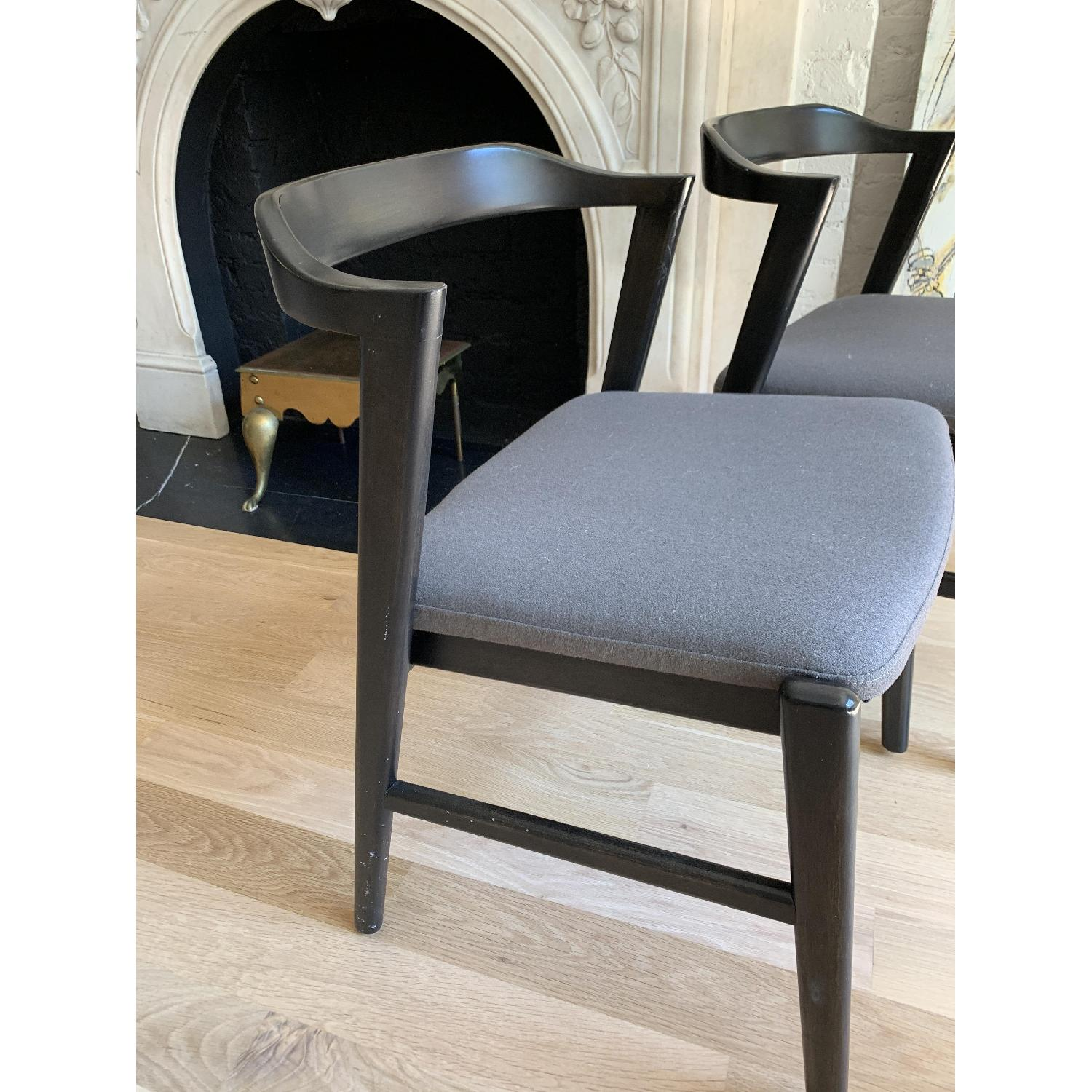 Room & Board Dark Wood & Grey Fabric Dining/Accent Chairs - image-5