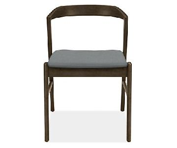 Room & Board Dark Wood & Grey Fabric Dining/Accent Chairs
