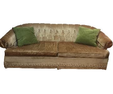 Vintage Velvet Tufted Champagne Gold Sofa