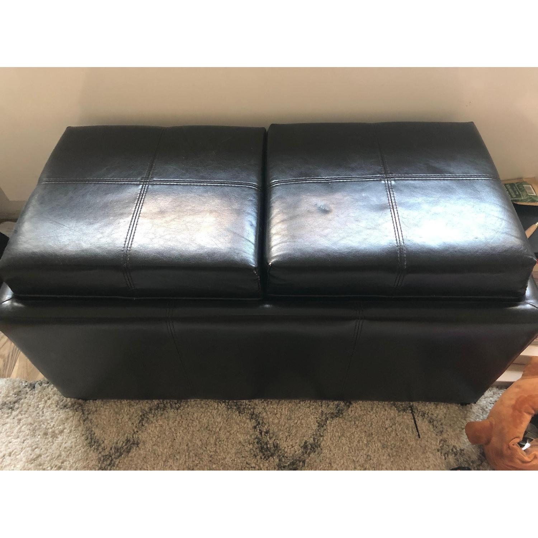 Leather Ottoman w/ Storage & Flippable Lid w/ Trays - image-1