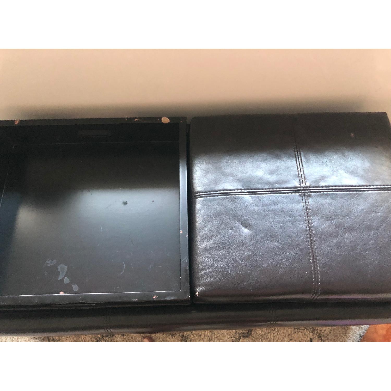 Leather Ottoman w/ Storage & Flippable Lid w/ Trays - image-2