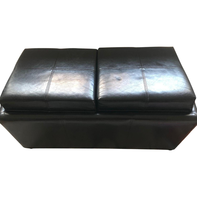 Leather Ottoman w/ Storage & Flippable Lid w/ Trays - image-0