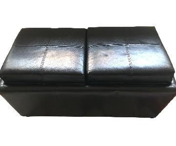 Leather Ottoman w/ Storage & Flippable Lid w/ Trays