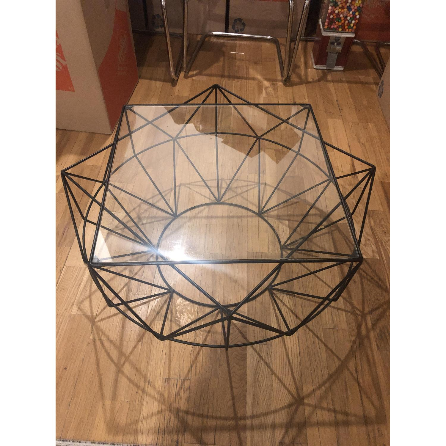 West Elm Glass & Blackened Metal Cocktail Table - image-1