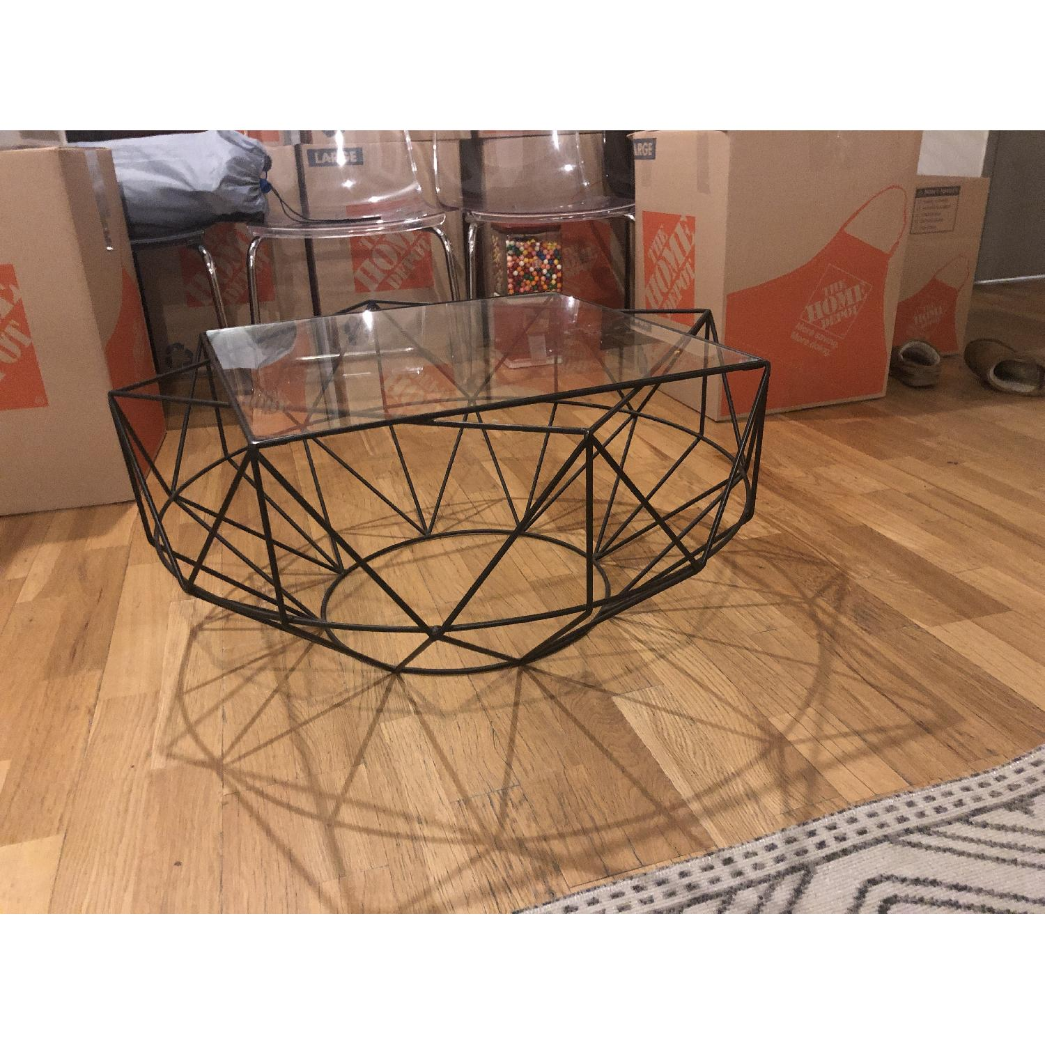 West Elm Glass & Blackened Metal Cocktail Table - image-2