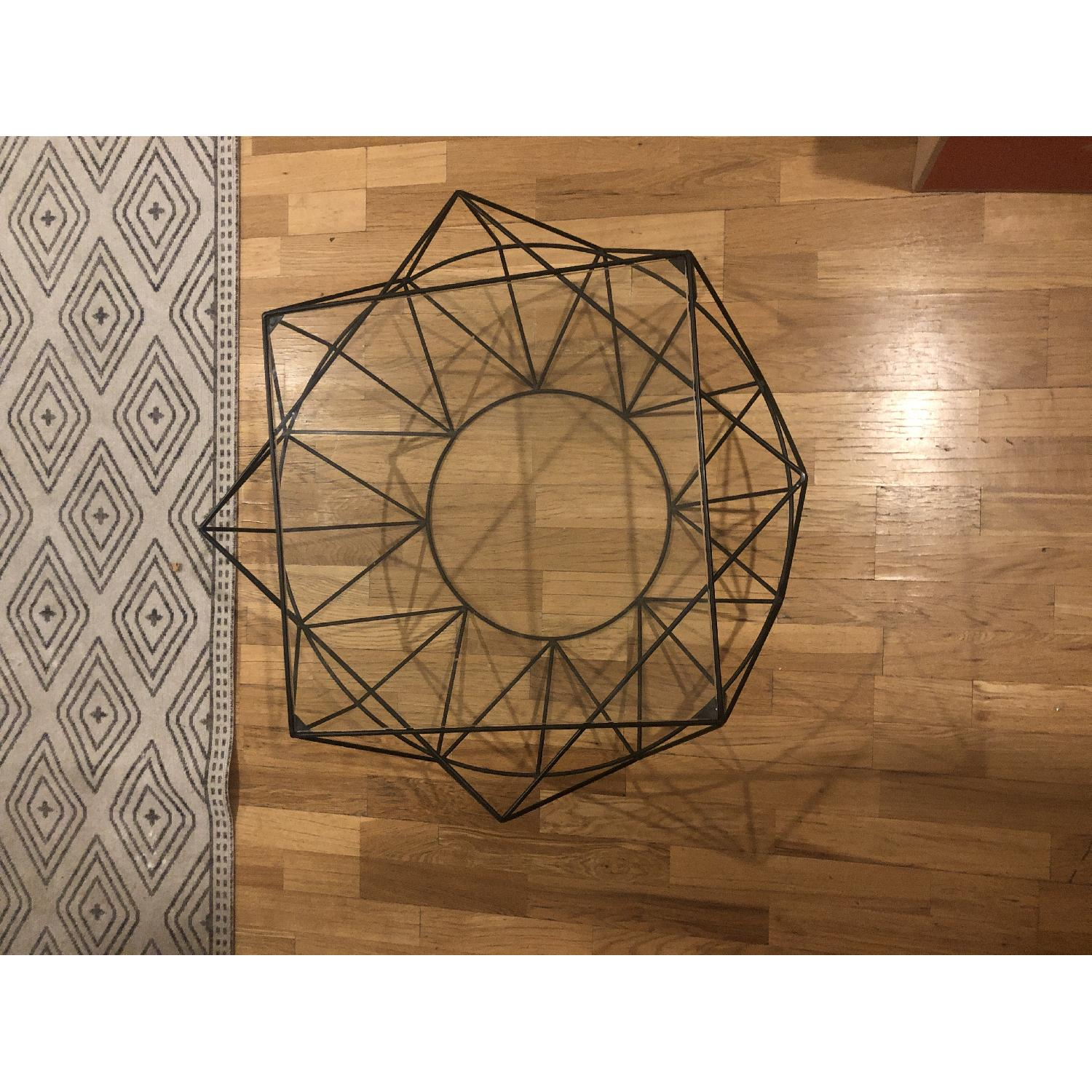 West Elm Glass & Blackened Metal Cocktail Table - image-4