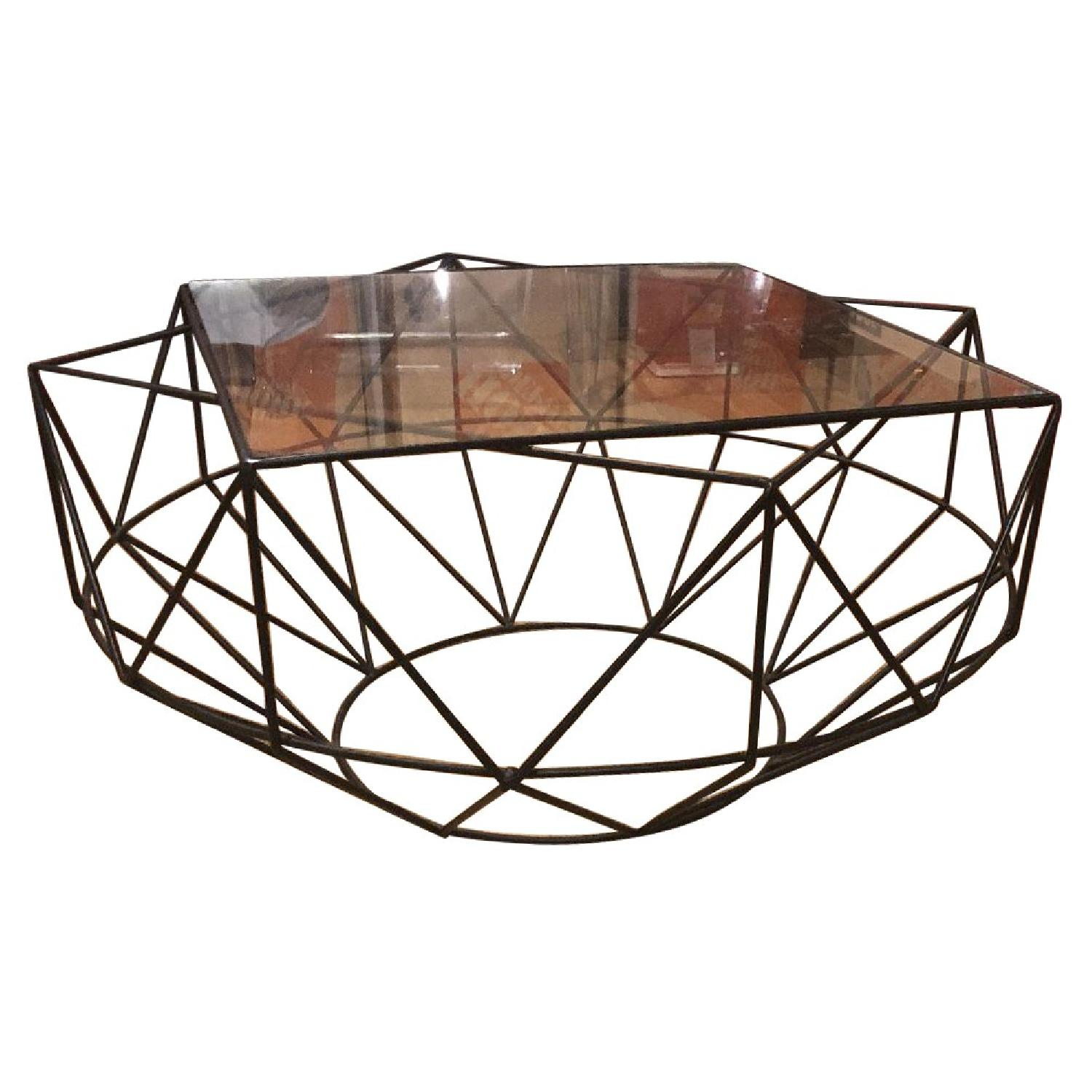 West Elm Glass & Blackened Metal Cocktail Table - image-0