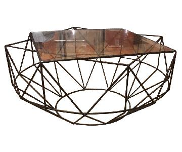 West Elm Glass & Blackened Metal Cocktail Table
