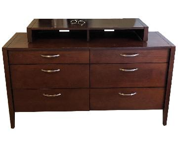 Brown Wood 6-Drawer Dresser w/ Silver Pulls