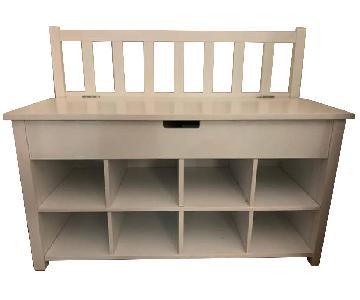 Porch & Den Tyne White Shoe Storage Bench