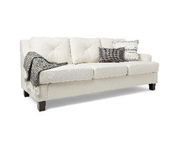 InspireQ Elston Linen Tufted Sloped Track Sofa