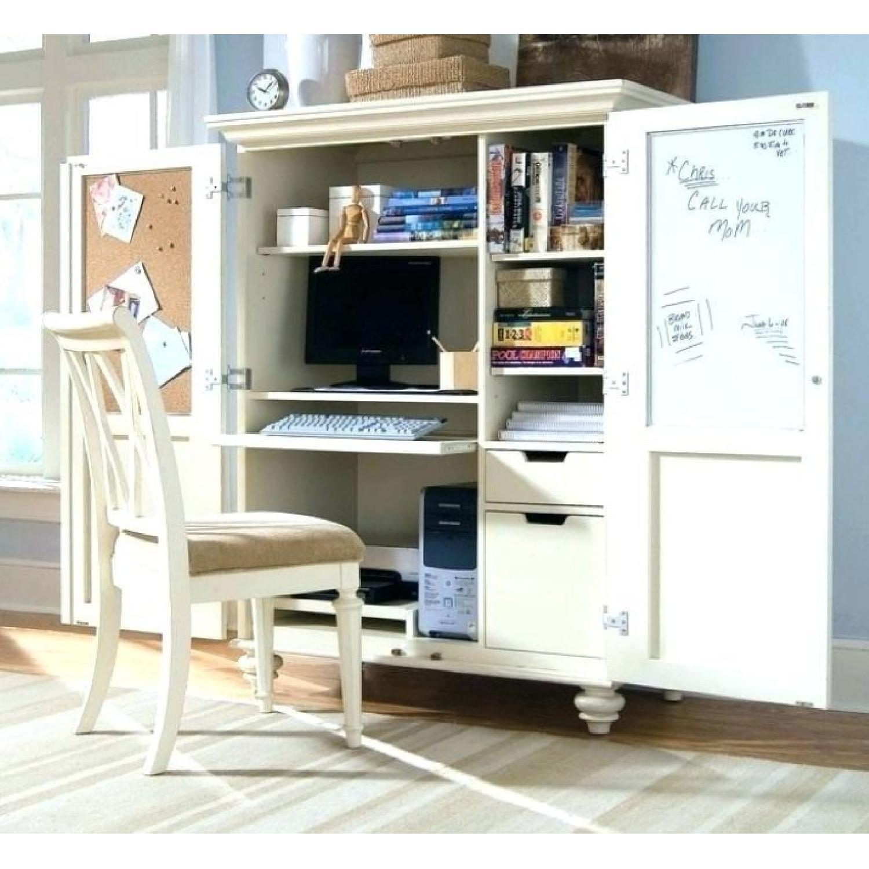 Home Office Storage Armoire w/ Hidden Computer Desk - image-2