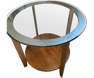Ethan Allen Glass Top End Table