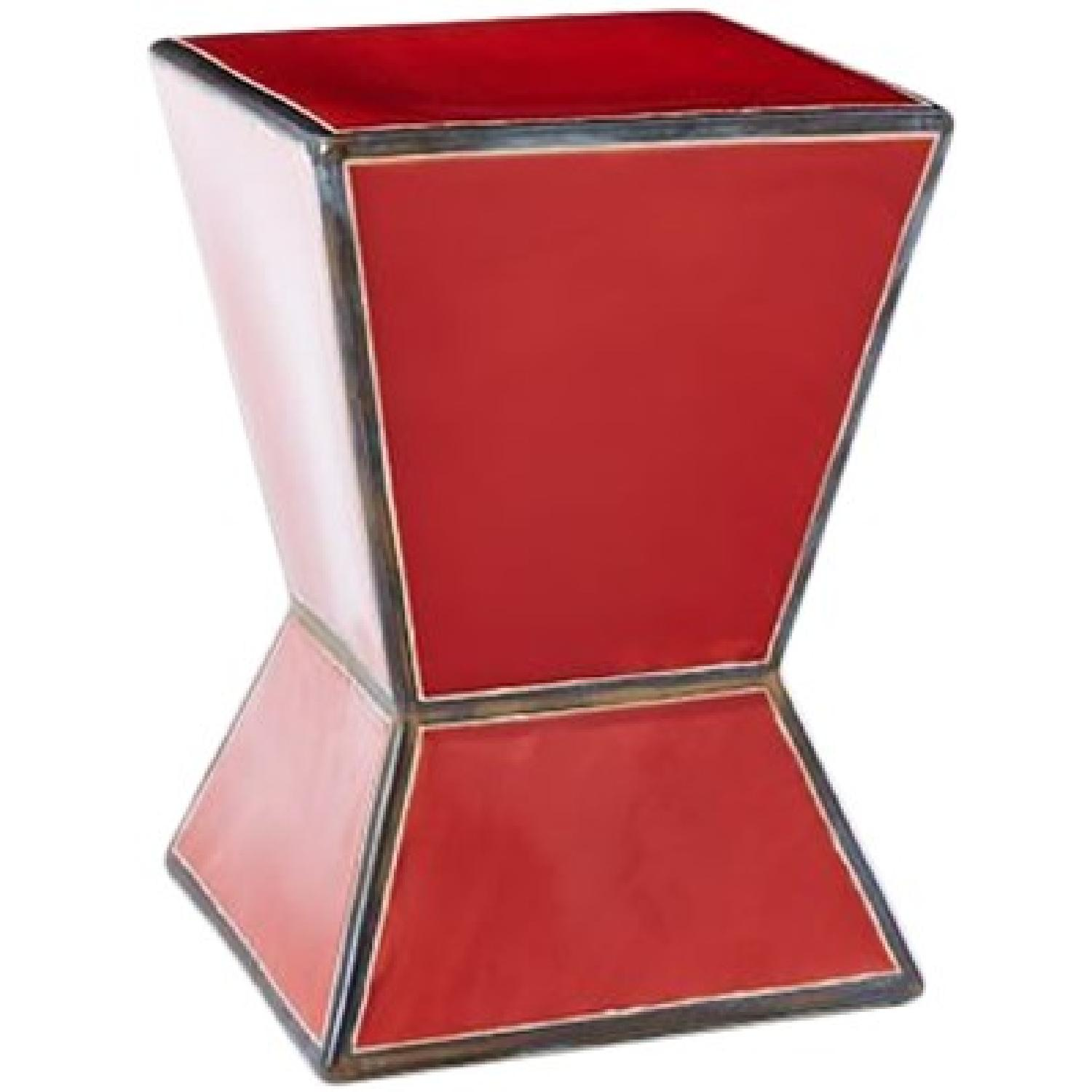 West Elm Ceramic Trapezoid Red Side Table - image-0