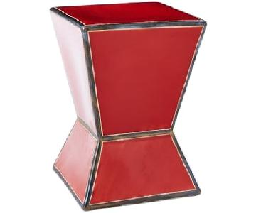 West Elm Ceramic Trapezoid Red Side Table