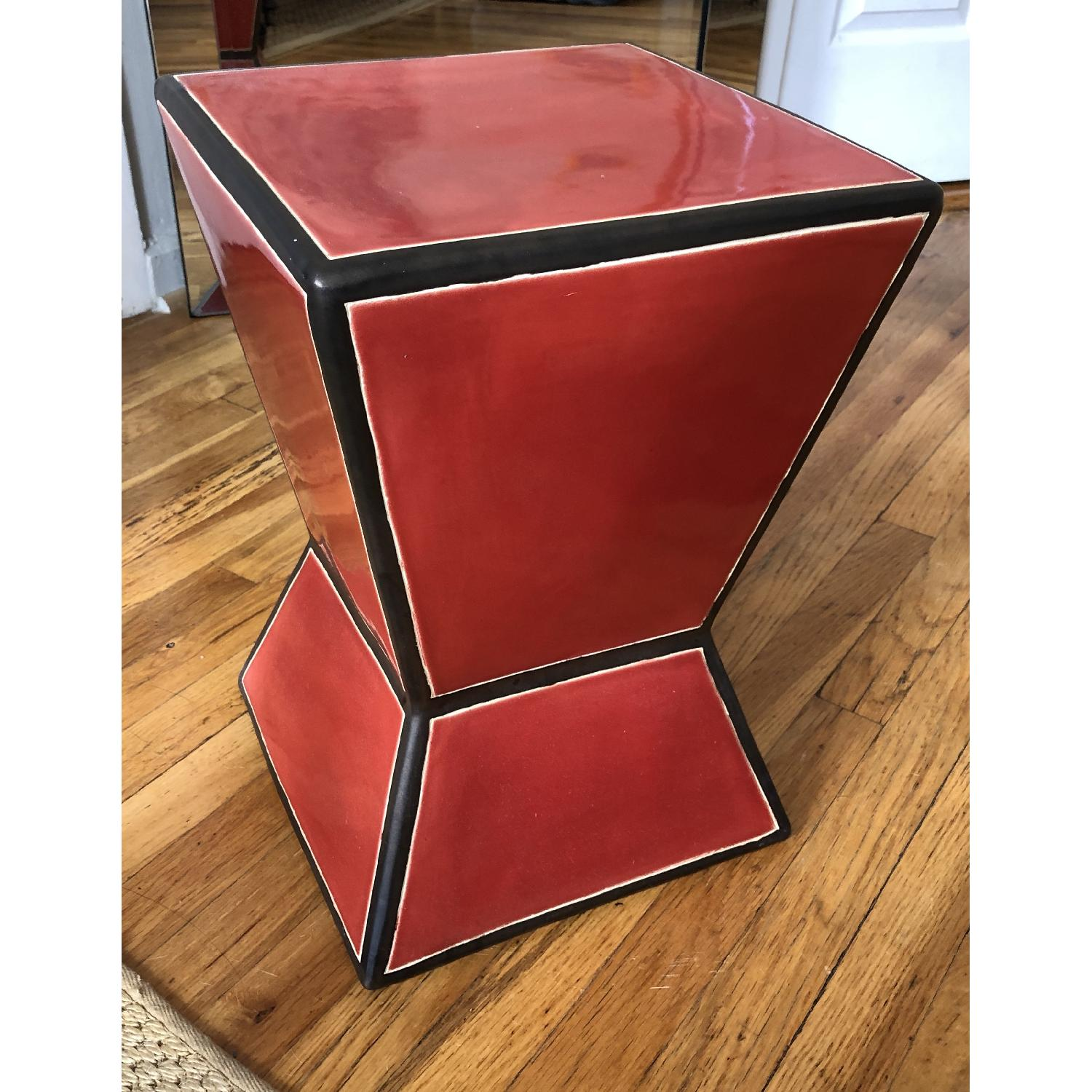 West Elm Ceramic Trapezoid Red Side Table - image-1