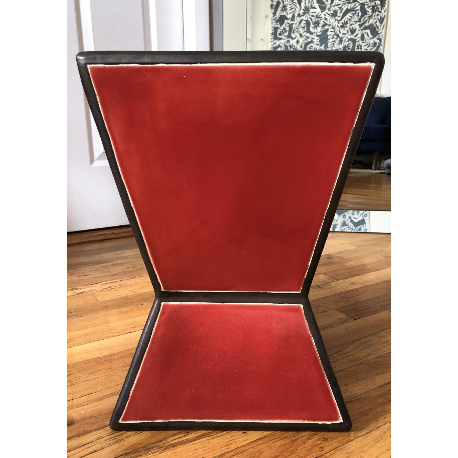 West Elm Ceramic Trapezoid Red Side Table - image-2
