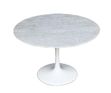White Tulip Style Round Dining Table w/ Marble Top & Fiberglass Base