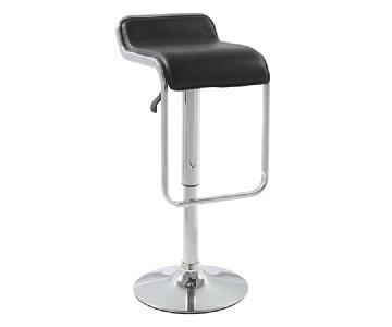 Modern Swivel & Height Adjustable Barstool in Black w/ Chrom