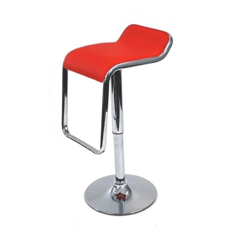 Modern Swivel & Height Adjustable Barstool in Red w/ Chrome