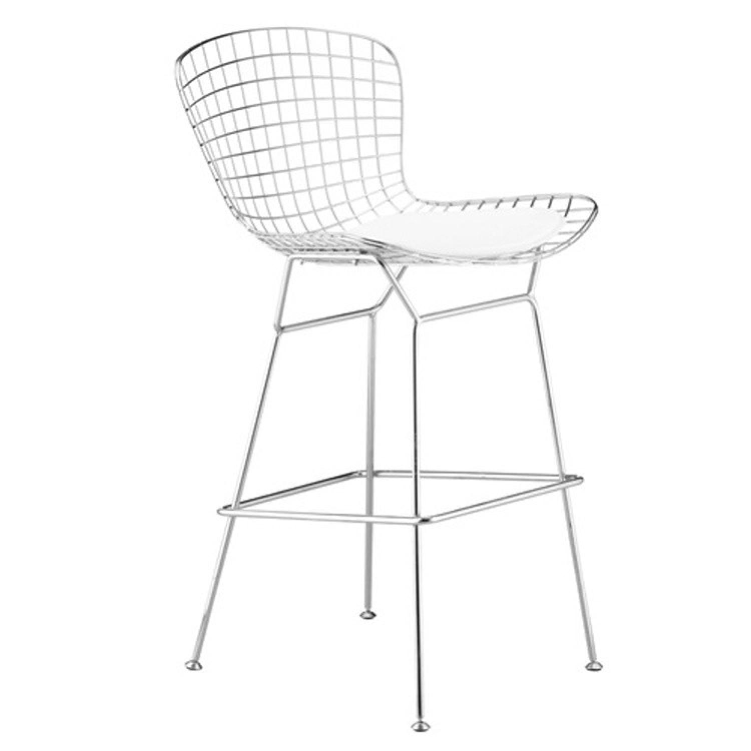 Awesome Retro Style Counter Height Wire Chair In Silver Finish Squirreltailoven Fun Painted Chair Ideas Images Squirreltailovenorg