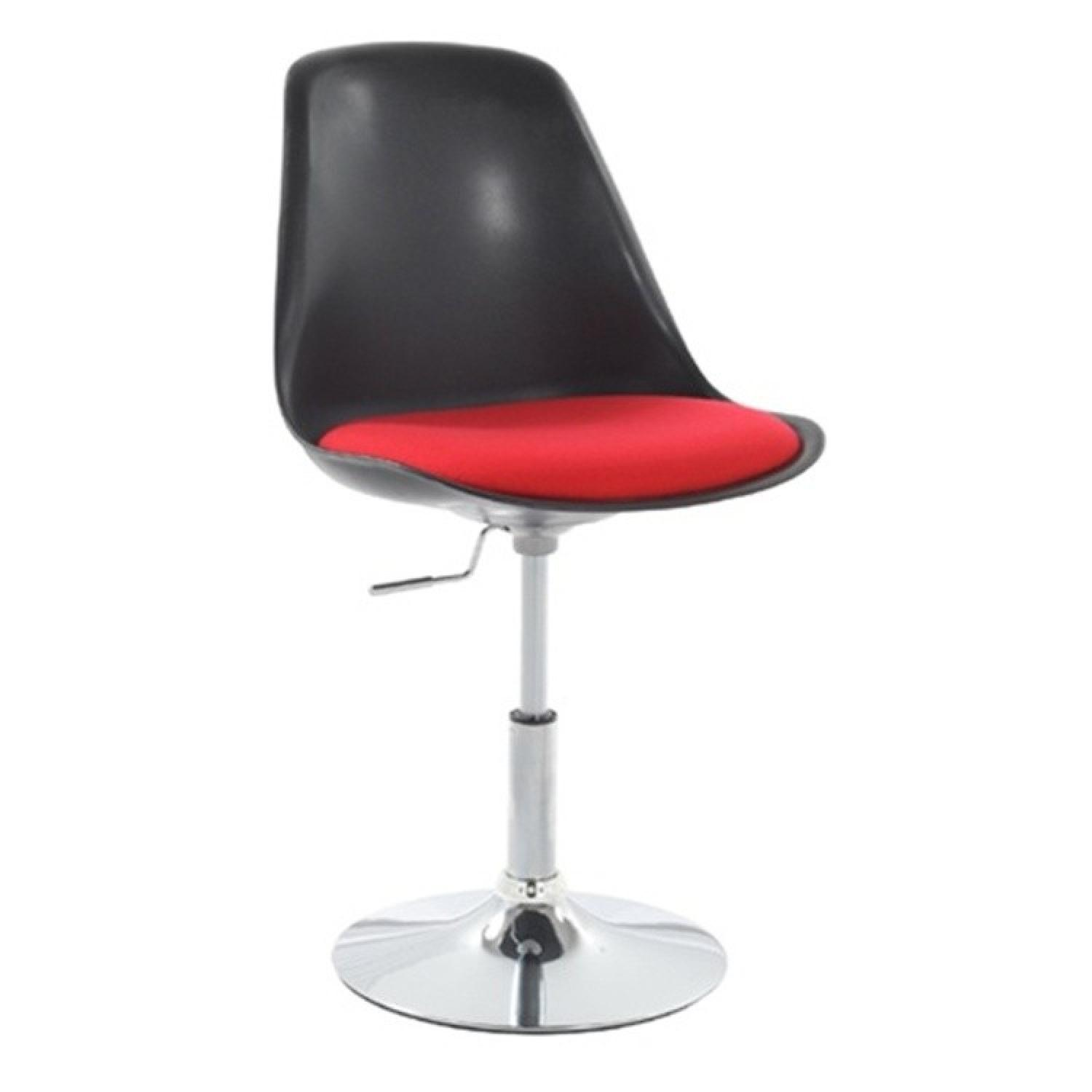 Swivel Height-Adjustable Side Chair in Black w/ Red Seat Cus