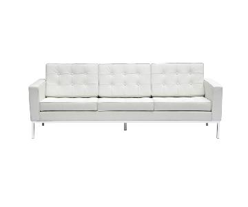 Mid Century Style Modern Button Tufted Sofa in White Italian