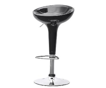 Modern Black Fiberglass Swivel & Height-Adjustable Barstool w/ Chrome Base & Footrest