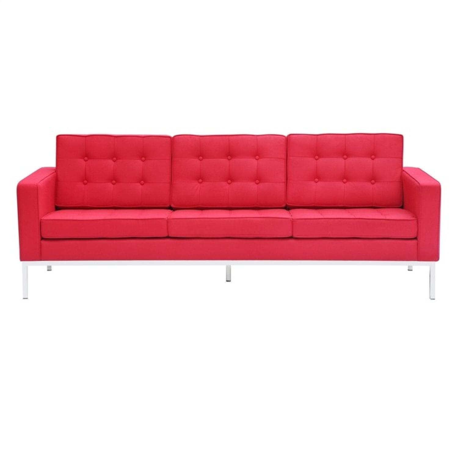Mid Century Style Modern Button Tufted Sofa in Premium Red W