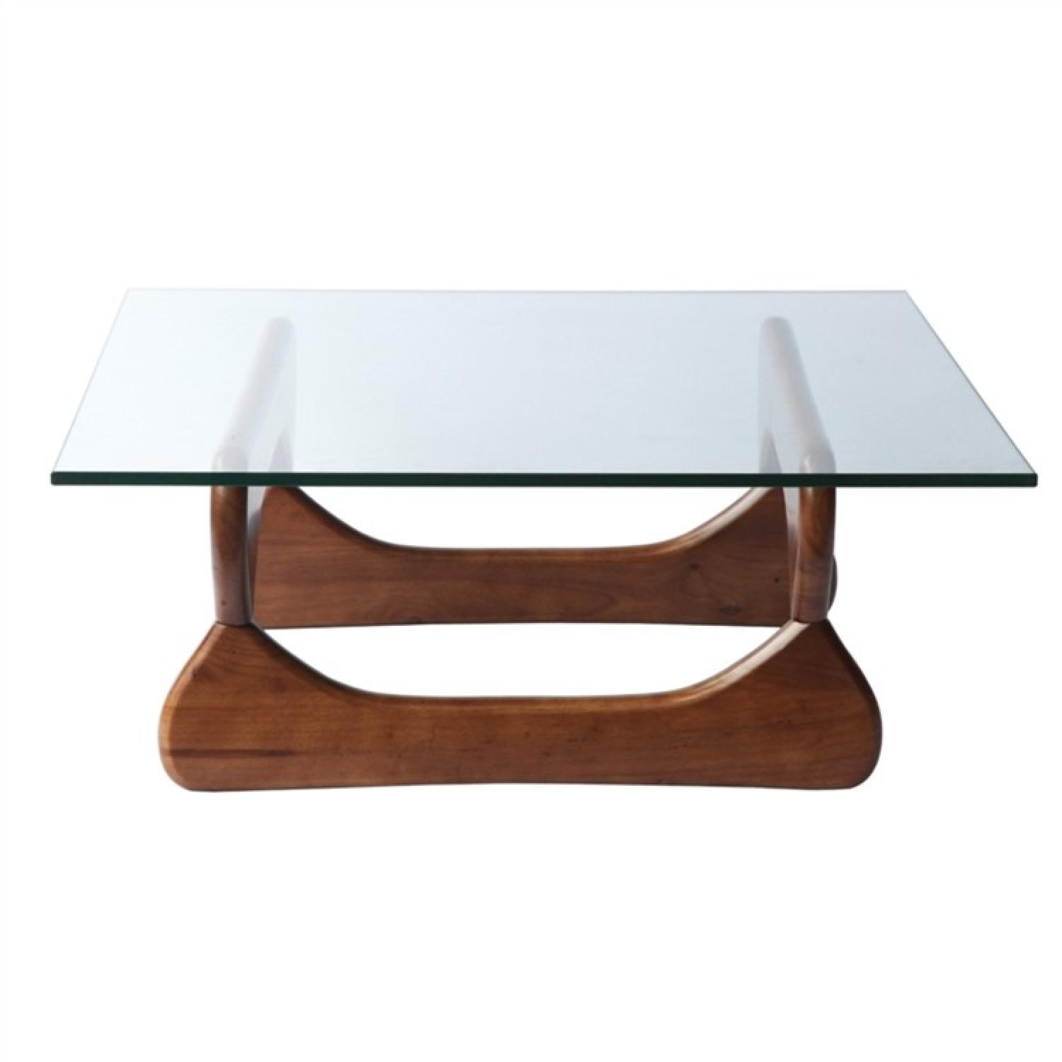 Cb2 Mid Century Coffee Table: Mid Century Inspired Coffee Table W/ Tempered Glass Top