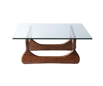 Mid Century Inspired Coffee Table w/ Tempered Glass Top & Walnut Color Wood Base