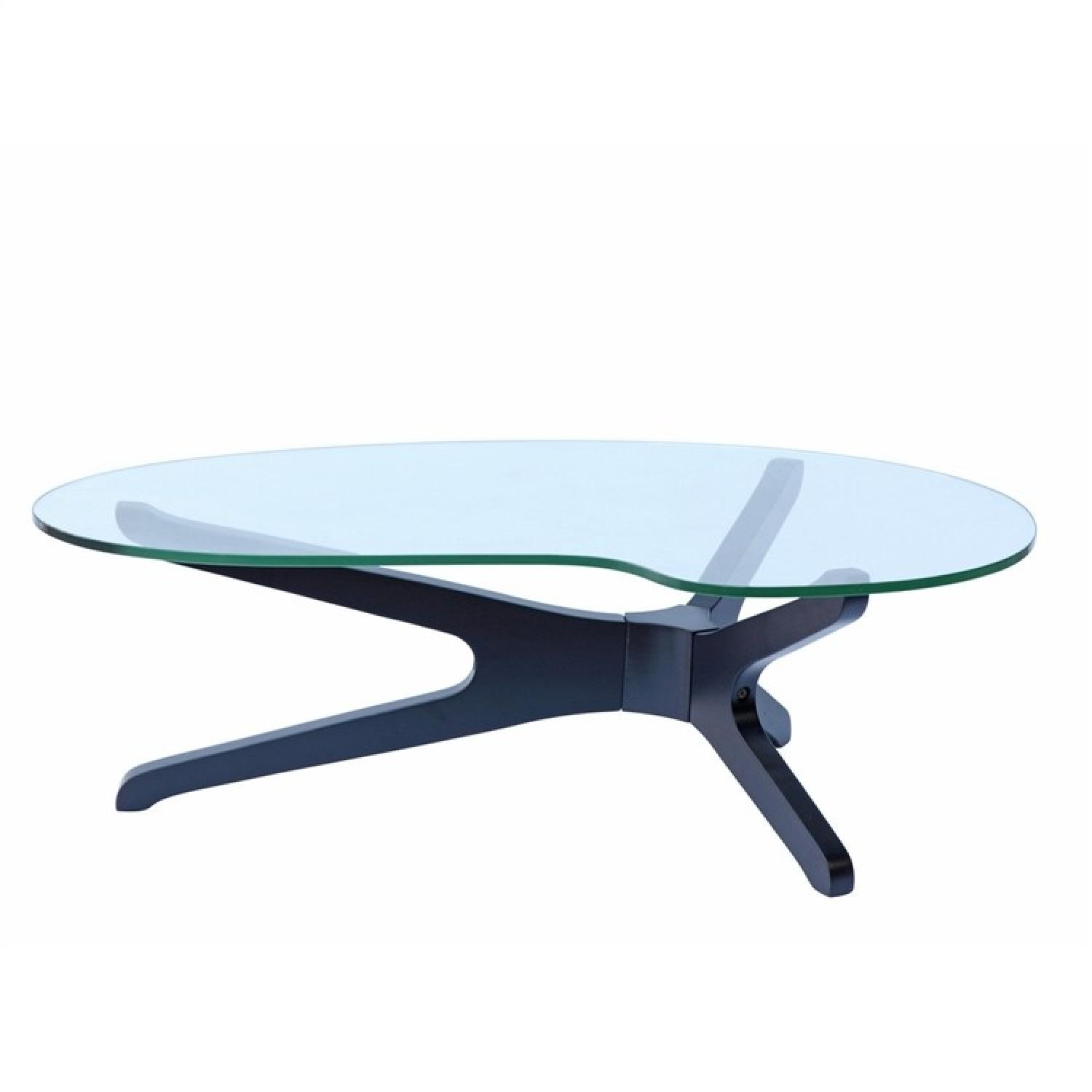 Modern Coffee Table w/ Irregularly Curved Tempered Glass Top & Black Wood Base