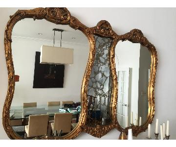 Large Antique Gold Wood Mirror