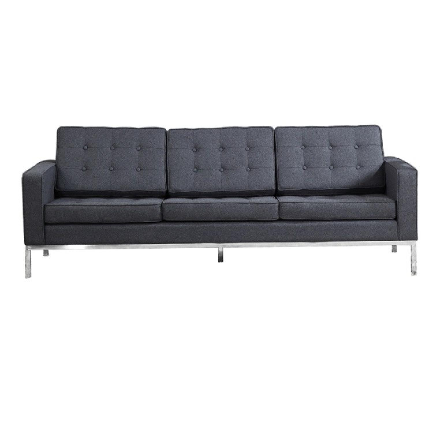 Mid Century Style Modern Button Tufted Sofa In Premium