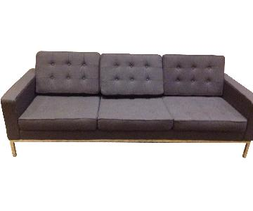 Mid Century Style Modern Button Tufted Sofa in Premium Grey Wool Fabric